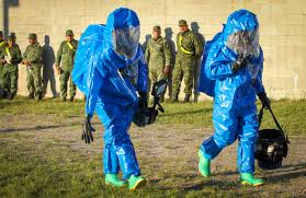 hazmat suits and national guard